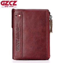 GZCZ 2017 Fashion Red Wallet Female Luxury Brand Coin Purse Genuine Leather Women Walet Mini Portomonee Money Bag Ladies Purse(China)