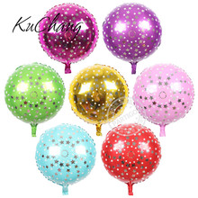 50pcs/lot 18inch Five-pointed clear star printed foil balloon green Birthday Decorative Toys globos metalic 7 color
