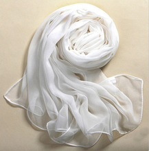 MUQGEW Beach Style 100% Silk Pure White Soft Thin Oblong Scarf Shawl Elegant Women New Lluxury Brand Voile Simple And Casual