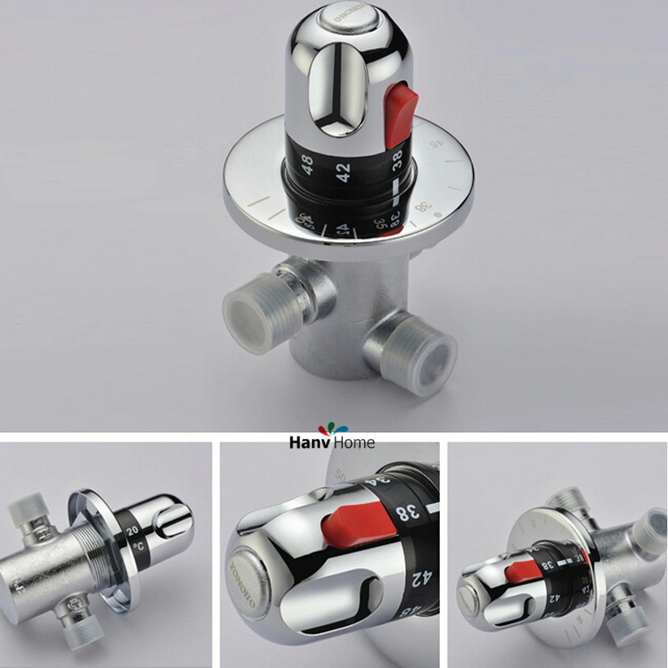 DN15(G1/2) Brass Thermostatic Mixing Valve, Solar water heater valve,Adjust the Mixing Water Temperature Thermostatic mixer<br>