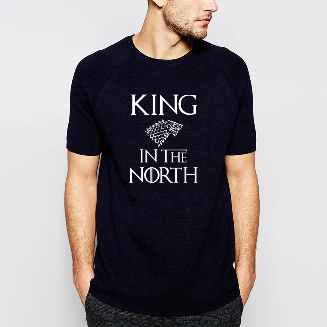 Game Of Thrones King In The North T Shirt Men 2019 Summer Funny T-shirts TV Show Short Sleeve Shirt Hip Hop Streetwear BZ0101