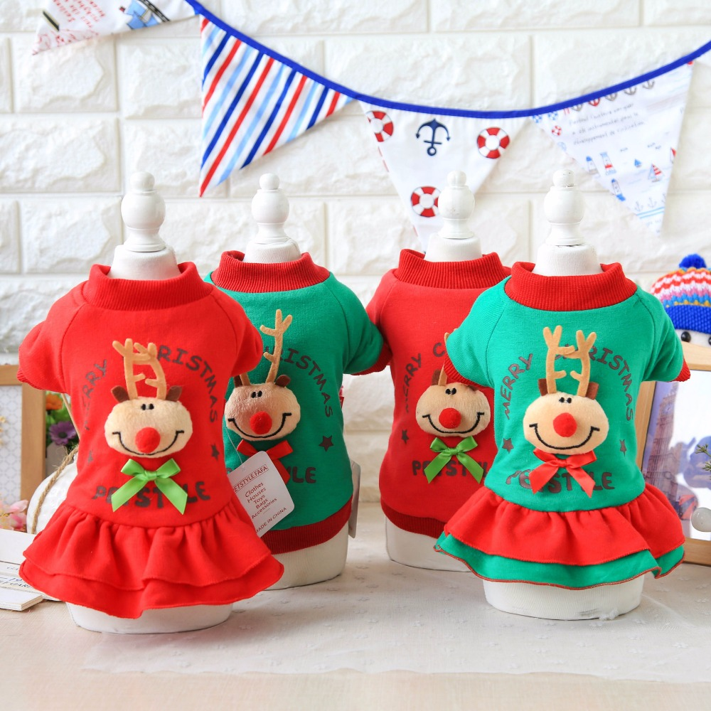 Christmas Elk Lovers Dog Clothes Red Green Color Xs-xl Size Dresses and Vests Two Style Pet Clothing for Autumn and Winter Dog(China)