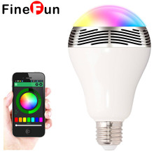 FineFun E27 LED RGB Light Music Bulb Lamp Color Changing Via WiFi App Control MP3 Player Wireless Bluetooth Speaker