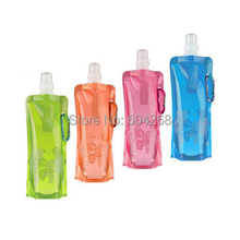 Free Shipping! Portable folding sports water bottle/foldable water bottle 480ml(16oz)(6 colors) 10pcs/lot(China)