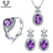Double-R 0.03ct Natural Diamond earring Ring Pendant Necklace silver 925 4.1ct Real Amethyst Gemstone Jewelry Sets Silver Chain(China)