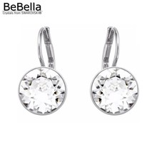 BeBella bella mini pierced earrings made with Crystals from Swarovski gold color plated clear crystal gift for women's present