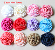 "3"" Rolled Flowers Satin Rolled Rosette Fabric Flowers Flat Back For Hair Accessories 60Pcs Free Shipping(China)"