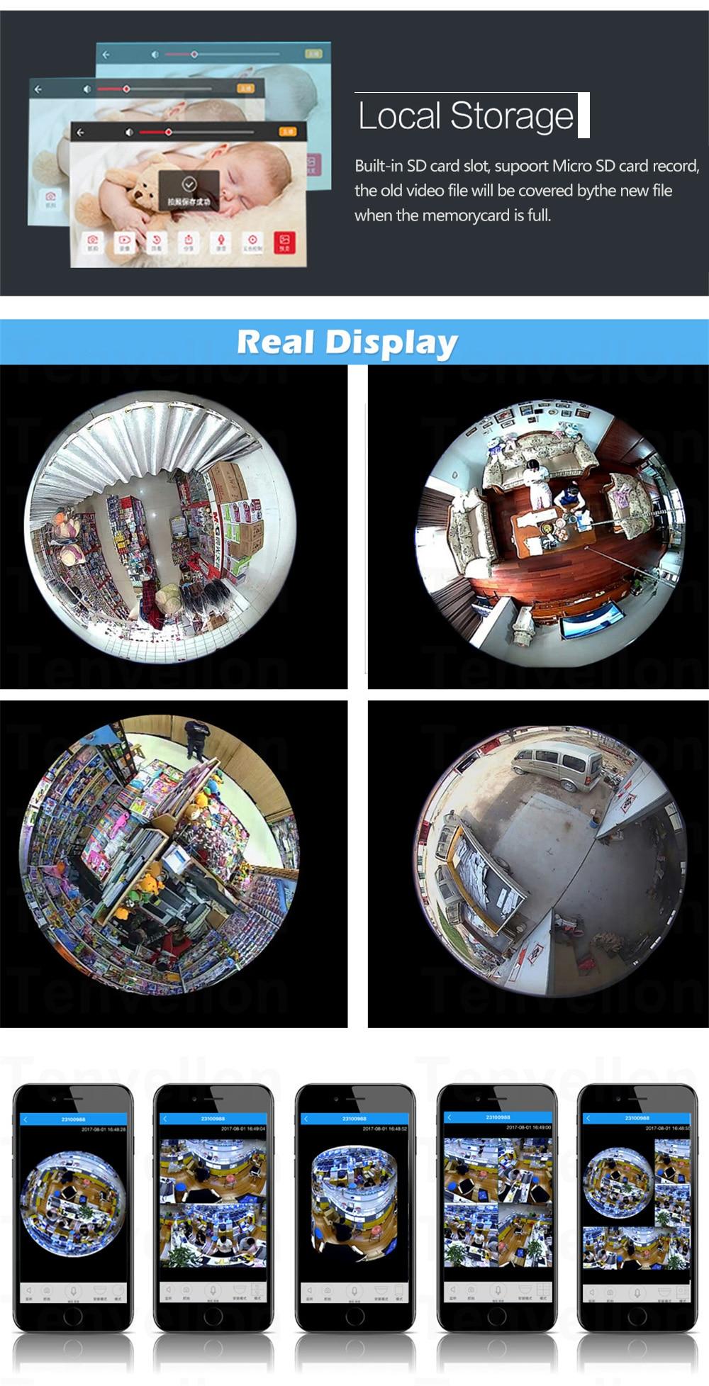 Wistino CCTV HD 960P WIFI IP Camera Alarm Wireless VR Panoramic Camera Fisheye 360 Degree Video Baby Monitor Home Surveillance (12)
