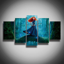 Framed Printed Brave Merida picture painting on canvas children's room wall home decor Canvas Print art Christmas gift / present(China)