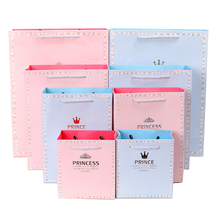 free shiping prince&princess romatics gift paper bag portable suitable for party house moving giftbag closing
