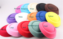"Wholesale 12pcs/Lot 6.3""(16cm) 15color MIini Top Fascinator Hats Base Fedora Hat Clip DIY hair accessories pillbox hats(China)"