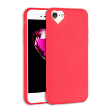 Ultrathin Silicone cover For iphone 7 7Plus 8 8Plus Cute Candy colors Soft TPU phone cases loving heart hole design Dust plug