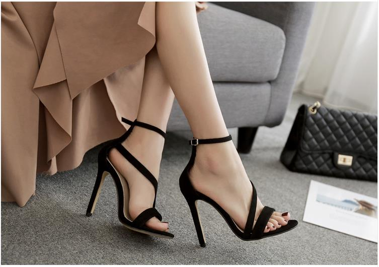 New Shoes Sexy Design Women Buckle Thin High Heels