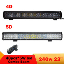240W 4D 5D Offroad LED Light Bar 23''  Combo Auto Car Trailer Wagon 4WD 4X4 ATV UTB UTV Vehicle Truck Driving Headlight 12V 24V