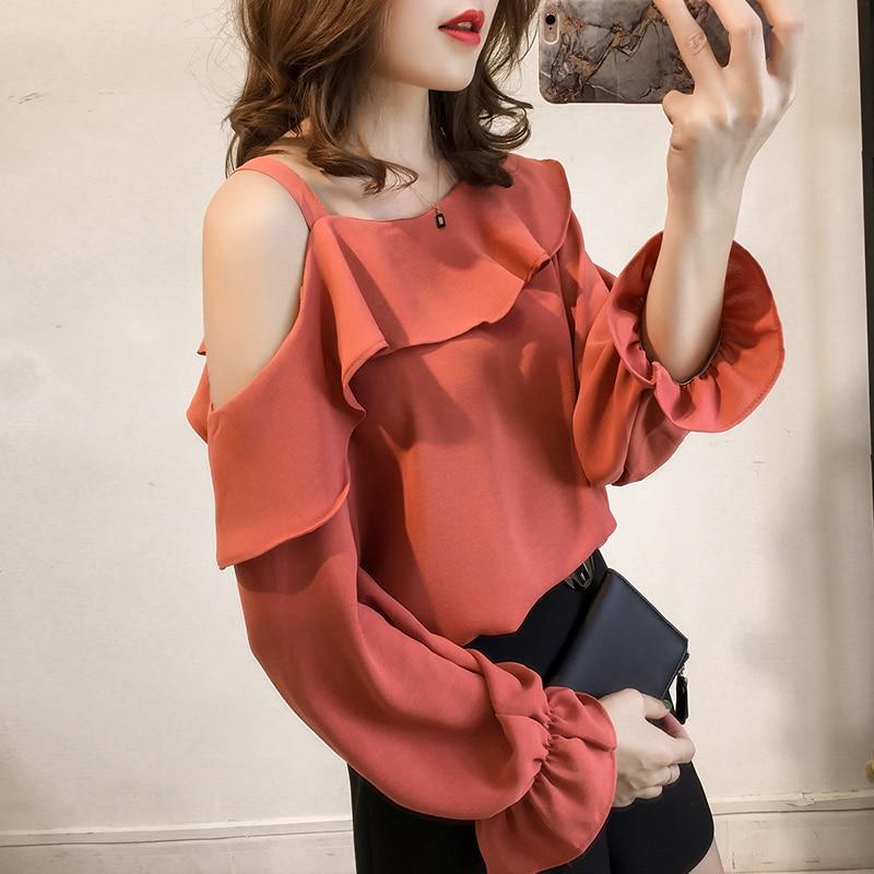 M-4xl White Elegant Chiffon Blouse Women Long Sleeve Ruffles Blusas Shoulder Open Office Shirt Tops Plus Size Hot Sale 2018 New 4 Online shopping Bangladesh