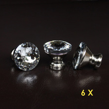 crystal glass drawer knobs handle pulls bed room cabinet(China)