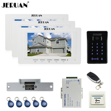 JERUAN luxury 7`` TFT Video Intercom Video Door Phone System 3 monitor RFID Waterproof Touch key Camera+Remote control Unlocked