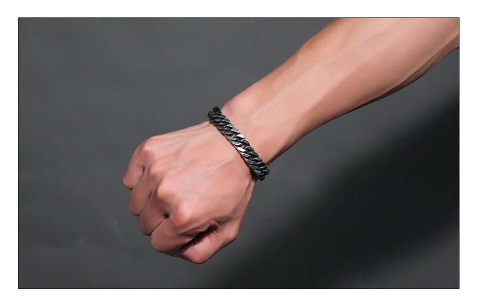 Meaeguet 8mm Wide Vintage Stainless Steel Chain Link Bracelet Men Jewelry Matte Finished Hand Chain Bracelet & Bangle (6)