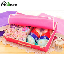 16 Grid Household storage box for underwear bra Folding Closet Organizer Drawer Divider Container Fabric Storage Systems(China)