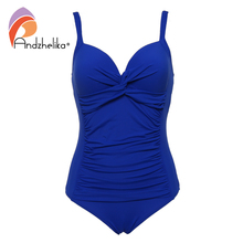 Andzhelika 2017 New Plus Size Swimwear Sexy Bandage Deep Cup Swimwear Full Lining Women One Piece Swimsuit Solid Halt AK18606