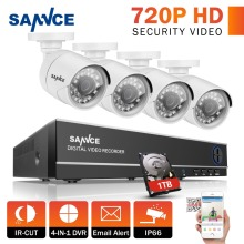SANNCE 4CH 720P CCTV Security System 1080N HD DVR and 4pcs 720P white 1.0MP Cameras 4 channels 1280TVL Surveillance kits