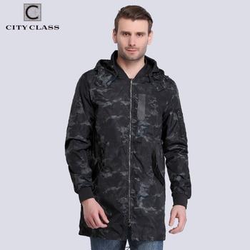 City Class 2017 Nouveau Printemps D'été Coupe-Vent Hommes Vestes Et Manteaux Capuche Amovible camouflage Mode Étanche Tranchée 3968