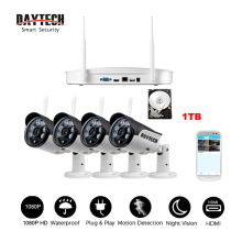 DAYTECH CCTV Security Camera Home Surveillance System 4CH NVR Kit 1TB HDD 2MP 1080P HD HDMI/VGA Wireless WiFi Outdoor Waterproof