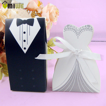 150pcs Bride And Groom Wedding Decoration Favour Candy Cookies Sugar Case Gift Boxes With Ribbon Formal Dress Tuxedo Dress Boxes