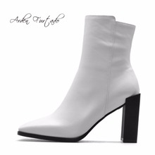 Arden Furtado new 2017 autumn genuine leather square toe high heels ankle boots zipper white fashion shoes for woman matin boots(China)