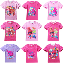 Cartoon Print Children T-Shirts For Boys Girls Trolls Baby Girl Clothes Cotton T-shirts Kids Children's Tee Top Summer Clothing