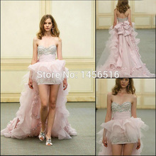 BU Luxury Short Front Long Back Wedding Dress Sweetheart Sleeveless Ruched Beading Bow High Low Short Bridal Gown
