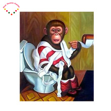 orangutans animal diamond painting Gorillas, wearing a crown cross stitchMosaic painting full round diamond painting needlework(China)