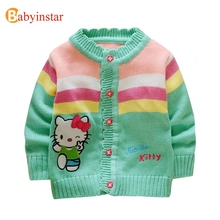 Babyinstar Kids Clothes Cartoon Hello Kitty Cardigan Sweater Long Sleeve Character Baby Girls Kids Knitted Sweaters