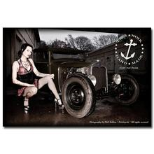 NICOLESHENTING Hot Rod Muscle Car Art Silk Fabric Poster Print Classic Car Hot Model Girls Pictures For Living Room Decor 027