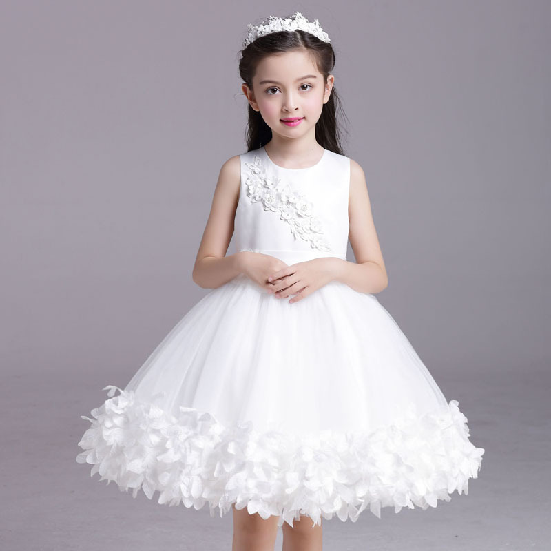 2017 new brand children white princess dress fancy flower girls dresses for party and wedding pageant korean kids clothes<br>