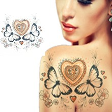 Temporary tattoo Red Heart Butterfly Design Fantasy Fake Tattoo Body Art Waterproof Flash Tattoos Henna Stickers for Women C002