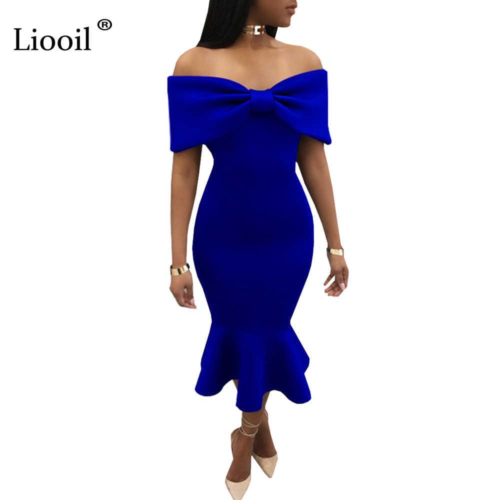 Liooil Off Shoulder Ruffles Party Dress Black Blue Red Bow Slash Neck  Bodycon Midi Dress Sexy 35190a9d33d6