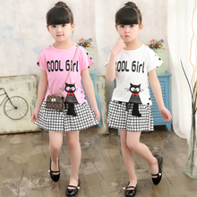 Children girl clothing sets cute cat polka dot t-shirt and plaid shorts summer girls 3-10 years kids pink white two piece set