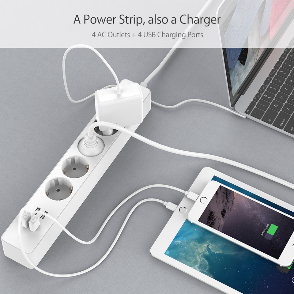 NTONPOWER NSC Smart EU Electrical Plug Socket Extension Lead 4 AC Outlets Power Strip with 4 Ports USB Charger Surge Protection 10