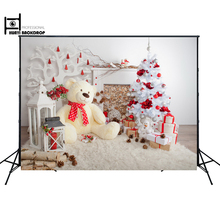 Christmas Backdrop Christmas Wall Decoration Backdrop Newborn Baby Children toy Bear photo props D-3356(China)