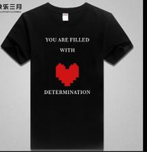 Undertale Japan HOT Game Undertale Coat Unisex Skeleton You Are Filled With Heart Determination Funny cosplay costume tshirt tee(China)