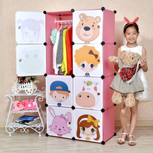 16 Cubes Simple Cartoon Children Hanging Wardrobe Closet Kids Closet Organizer Childrens Wardrobe Storage Boxes Bins Device