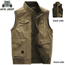 AFS JEEP Brand Military Multi Pocket Mens Vest Spring and Autumn Outwear Waistcoat Big Size L-9XL 128