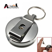 Retractable Metal Card Badge Holder Steel Ring Belt Clip Pull Security Key Chain Outdoor Emergency Anti-thief Survival Kits(China)
