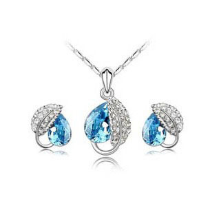 Wholesale (30 set/lot) Crystal Jewelry Set Fashion Missing Leaf Necklace + Earring CJ08