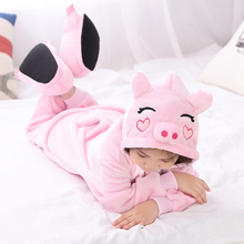 HKSNG Winter Kid Flannel Cartoon Animal Halloween Pink Pig Pajamas Onesie Child Cosplay Costume Sleepear For Party