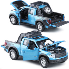 Cool 1:32 Diecast Car Models for Ford F150 Best Present for Children boy gifts with sound light pull back with sound and light(China)