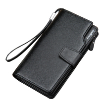 Men wallet zipper pocket male clutch multifunction genuine leather wallets long cellphone bag big capacity free shipping