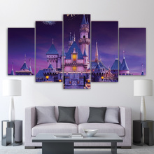 5 Panel Canvas Art Purple Dream Fairy Tale Castle Painting Modern Home Decorative Picture Drop Ship Wall Decor Bedroom Decor Kid(China)
