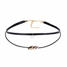 Mudder Deer Skin Choker Necklaces Gothic Stretch Tattoo Choker Elastic Crystal Circle Pendant Necklaces for Women Girls NM3713